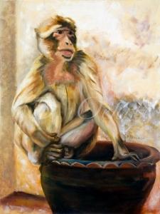 Monkey of Gibraltar-18x24-oil on canvas-2007