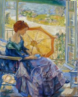 Richard Edward Miller-Tea Time 1914 Oil on Linen